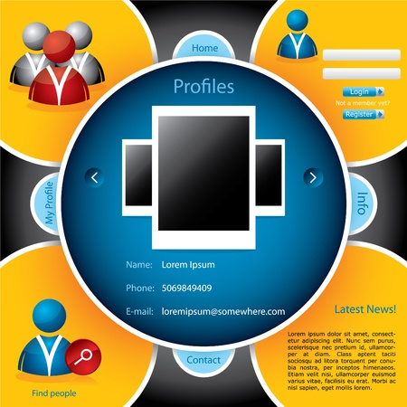 Web template for social networking Stock Vector - 9349658