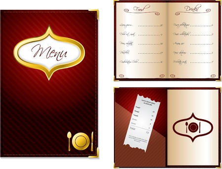 restaurant bill: Open and closed menu design for restaurants Illustration