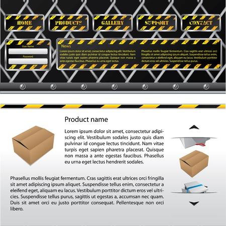 Hazard website template design with product description Stock Vector - 9413906