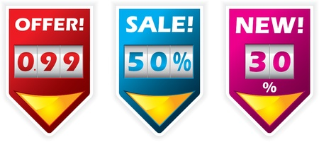 Discount label design set with counter Stock Vector - 9453062