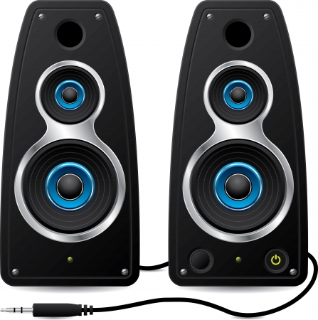 loudspeaker: Black stereo speakers with plug Illustration