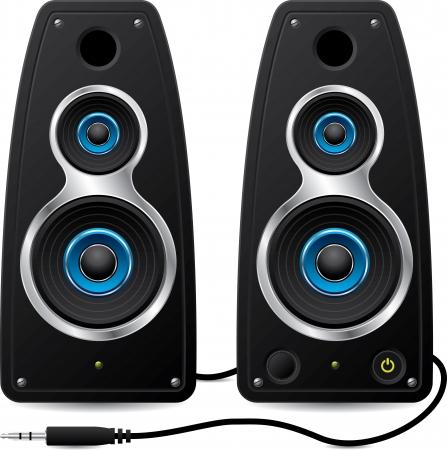 stereo: Haut-parleurs st�r�o noirs avec bouchon