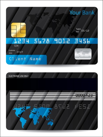 debit: Striped bank card design with world map