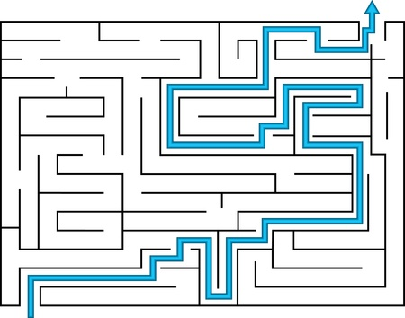 Labyrinth design with way out Vector