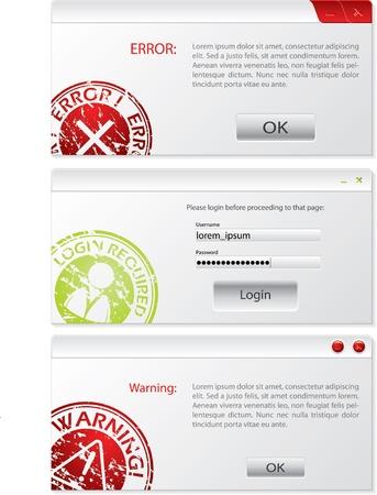 alertas: Sistema conjunto de dise�os de ventana de alerta Vectores