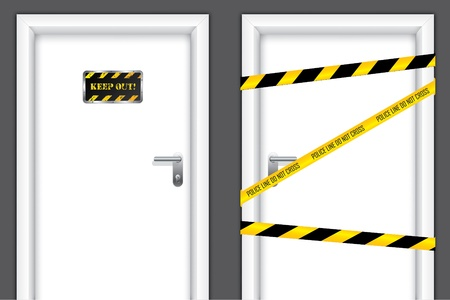 doorstep: Doors with caution messages and forbidden entrances