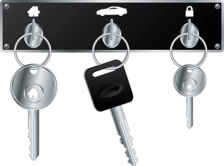keyholder: Various keys on the wall