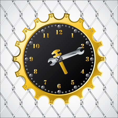 Industrial design clock on wired fence Stock Vector - 9931150