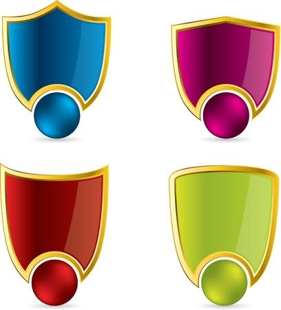 Various color shield design set Vector