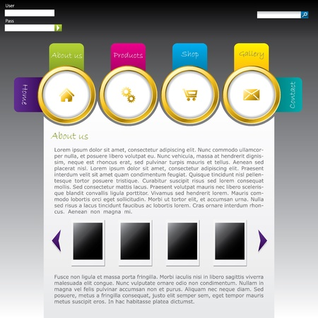 Website template design with labeled rings Vector