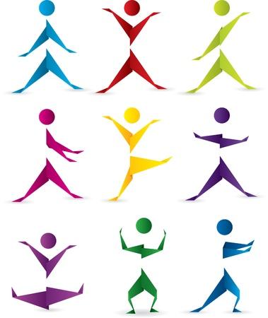 fitness danse: Silhouettes de gens origami en mouvement