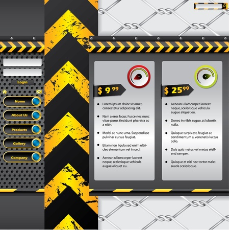 rev counter: Industrial website template  design with warning elements Illustration