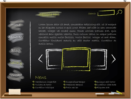 blackboard background: Website template design on blackboard drawn with chalk