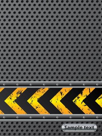 Disegno industriale sfondo con striscia di avvertimento