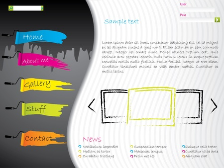 Artistic website template design with paint effects Vector