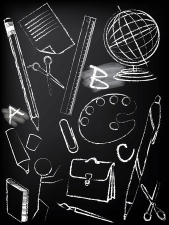 Blackboard design with children sketches  Vector
