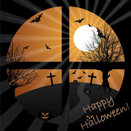 Halloween view from a window in moonlight Vector