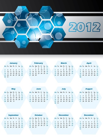 2012 calendar with hexagons and stripes Vector