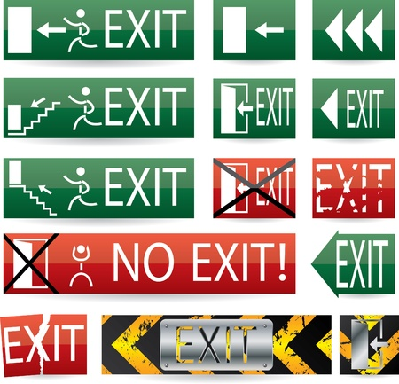 green exit emergency sign: Various exit sign designs with glow and grunge effect Illustration