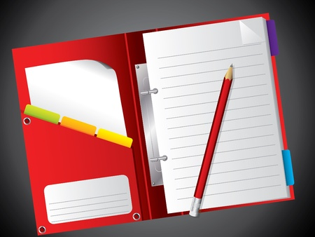Open red notepad  with red pencil on black background