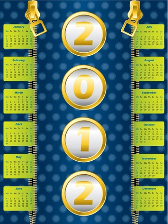 2012 zipper calendar on dotted blue background Vector