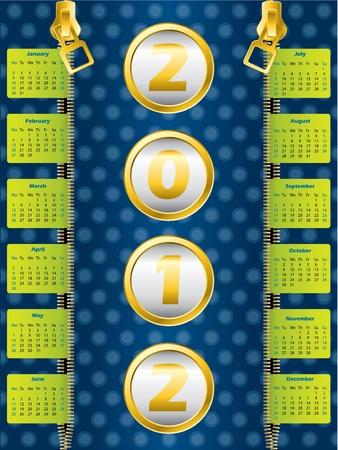 2012 zipper calendar on dotted blue background Vector