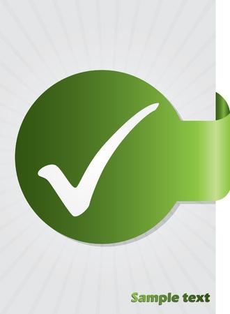 Tick symbol on green folded sticker background design Vector
