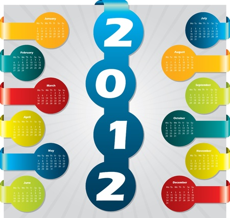 day planner: Bubble label calendar design for year 2012