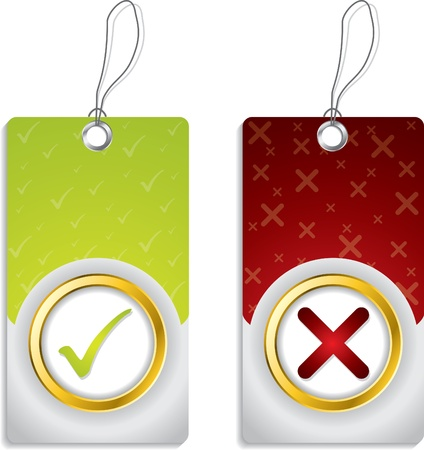 Tick and cross label set with golden ring design Vector