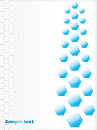 hexa: Blue hexagon on white background design with text