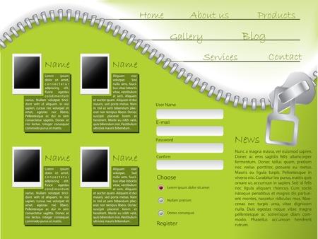 Green website template design with zipper and photos Vector