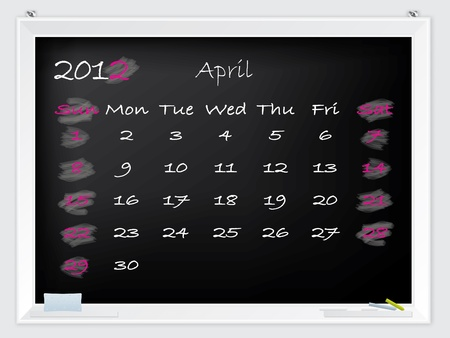 2012 April calendar drawn by hand on a blackboard Vector