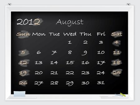august calendar: Calendario de agosto de 2012 dibujado a mano en una pizarra