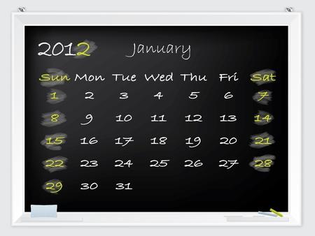 2012 January calendar drawn by hand on a blackboard Stock Vector - 10549369
