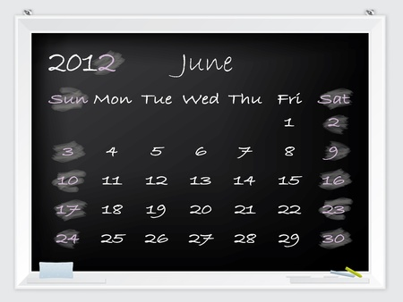 2012 June calendar drawn by hand on a blackboard