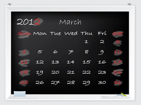 2012 March calendar drawn by hand on a blackboard