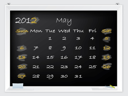 2012 May calendar drawn by hand on a blackboard Stock Vector - 10549362
