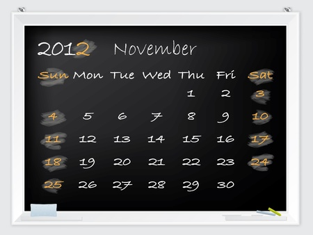 2012 November calendar drawn by hand on a blackboard Vector