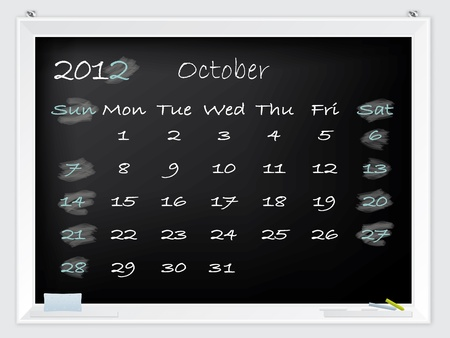 2012 October calendar drawn by hand on a blackboard Vector