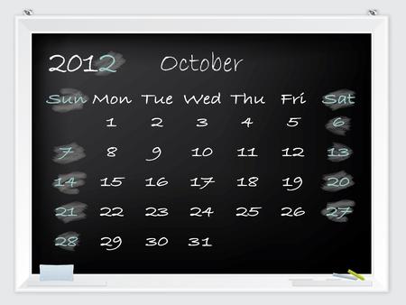 2012 October calendar drawn by hand on a blackboard Stock Vector - 10549364