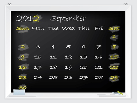 september calendar: 2012 September calendar drawn by hand on a blackboard