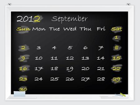 2012 September calendar drawn by hand on a blackboard