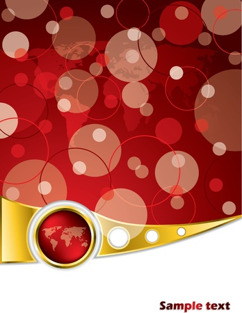 smooth shadow: Abstract brochure design in red and gold with map