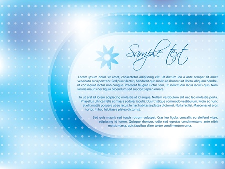 samples: Light blue brochure design with dots and white space for text