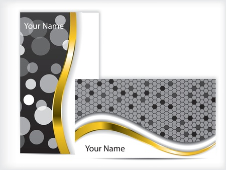 visiting card design: Black and white business card with golden wave Illustration