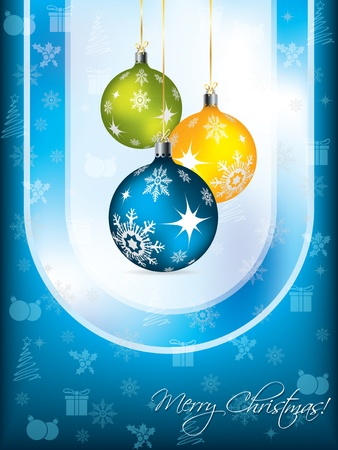 year curve: Blue christmas greeting card design with decorations Illustration