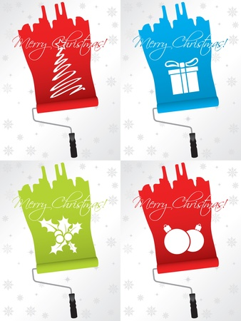paint box: Shifty christmas greeting card designs with paint rollers Illustration