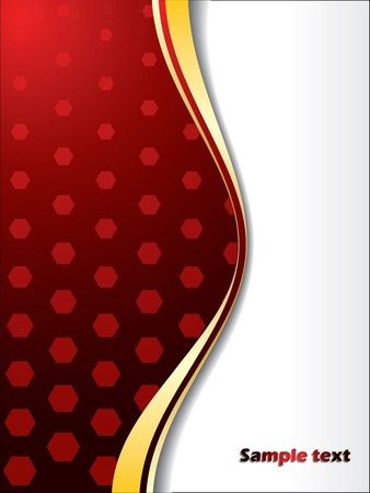 Red background design with hexagons and gold wave Stock Vector - 10788089