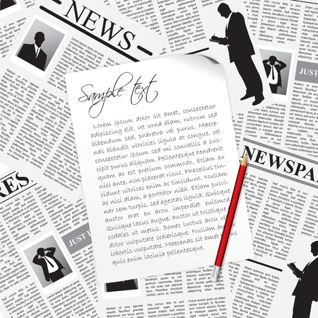 lately news: Notes taken from business newspapers with red pencil Illustration