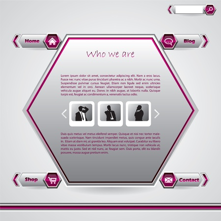 hexa: Hexagon website template design in pink and gray with business man photos